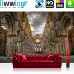 liwwing Vlies Fototapete 312x219cm PREMIUM PLUS Wand Foto Tapete Wand Bild Vliestapete - Architektur Tapete Kirchenruine Gotik Gewitterhimmel Wolken bunt - no. 3358