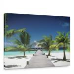 Leinwandbild Palme Strand Steg Himmel blau Natur | no. 1132