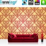 liwwing Fototapete 368x254 cm PREMIUM Wand Foto Tapete Wand Bild Papiertapete - Ornamente Tapete Ornamente Muster Luxus Edel Barock gelb - no. 1053