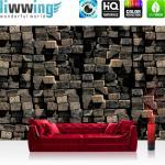 liwwing Vlies Fototapete 104x50.5cm PREMIUM PLUS Wand Foto Tapete Wand Bild Vliestapete - Holz Tapete Holzwand Holzstämme Natur Wand braun - no. 1514