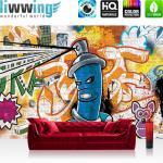 liwwing Fototapete 368x254 cm PREMIUM Wand Foto Tapete Wand Bild Papiertapete - Graffiti Tapete Kindertapete Dose Sprayer bunt - no. 340