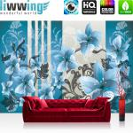 liwwing Vlies Fototapete 200x140 cm PREMIUM PLUS Wand Foto Tapete Wand Bild Vliestapete - Ornamente Tapete Blumen verspielt blau - no. 304