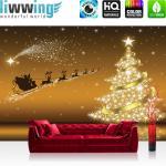 liwwing Fototapete 254x168 cm PREMIUM Wand Foto Tapete Wand Bild Papiertapete - Sternenhimmel Tapete Weihnachten Weihnachtsmann Rentier Schlitten Sterne gold - no. 2588