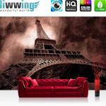 liwwing Fototapete 254x168 cm PREMIUM Wand Foto Tapete Wand Bild Papiertapete - Frankreich Tapete Eiffelturm Paris Wolken Vintage anthrazit - no. 644