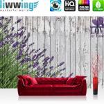 liwwing Vlies Fototapete 312x219cm PREMIUM PLUS Wand Foto Tapete Wand Bild Vliestapete - Holz Tapete Lavendel Holzwand Pflanzen Natur Zeichnung lila - no. 2402