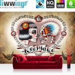 liwwing Fototapete 254x168 cm PREMIUM Wand Foto Tapete Wand Bild Papiertapete - Illustrationen Tapete Alchemy - Keepsake Totenkopf Ketten Schloss Braut Keepsake beige - no. 330