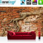 liwwing Fototapete 254x184cm PREMIUM Wand Foto Tapete Wand Bild Papiertapete - Steinwand Tapete Backsteinmauer Wurzel rustikal Vintage rot - no. 3289