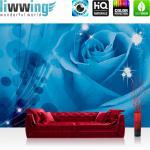 liwwing Vlies Fototapete 208x146cm PREMIUM PLUS Wand Foto Tapete Wand Bild Vliestapete - Blumen Tapete Rose Blume Elemente blau - no. 1304