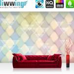 liwwing Fototapete 254x168 cm PREMIUM Wand Foto Tapete Wand Bild Papiertapete - Illustrationen Tapete Abstrakt Rechtecke Dreiecke Formen bunt Muster gelb - no. 391