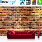 liwwing Vlies Fototapete 300x210 cm PREMIUM PLUS Wand Foto Tapete Wand Bild Vliestapete - Steinwand Tapete Steine braun Steinmauer rot - no. 419
