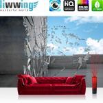 liwwing Vlies Fototapete 208x146cm PREMIUM PLUS Wand Foto Tapete Wand Bild Vliestapete - 3D Tapete Terrasse Scherben Glas Mauer Himmel grau - no. 2018