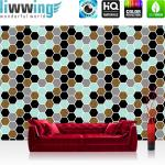 liwwing Vlies Fototapete 416x254cm PREMIUM PLUS Wand Foto Tapete Wand Bild Vliestapete - Texturen Tapete Polygone Sechsecke Hexagon bunt - no. 3462