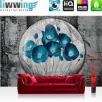 liwwing Vlies Fototapete 312x219cm PREMIUM PLUS Wand Foto Tapete Wand Bild Vliestapete - 3D Tapete Ölmalerei Kunst Wand Blumen Natur Malerei Holz grau - no. 1642