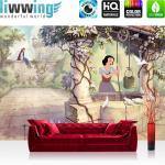 liwwing Fototapete 254x168 cm PREMIUM Wand Foto Tapete Wand Bild Papiertapete - Disney Tapete Schneewittchen und die 5 Zwerge Kindertapete Märchen Prinz beige - no. 2336