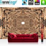 liwwing Vlies Fototapete 152.5x104cm PREMIUM PLUS Wand Foto Tapete Wand Bild Vliestapete - Steinwand Tapete Steine Mauer Steinmauer Tunnel braun - no. 2519