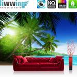 liwwing Vlies Fototapete 300x210 cm PREMIUM PLUS Wand Foto Tapete Wand Bild Vliestapete - PARADISE BEACH - Strand Meer Palmen Beach 3D Ozean Palme - no. 005