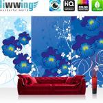 liwwing Vlies Fototapete 312x219cm PREMIUM PLUS Wand Foto Tapete Wand Bild Vliestapete - Kunst Tapete Malerei Blume Blätter Blüten Ranke Zeichnung blau - no. 1455