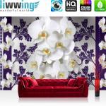 liwwing Vlies Fototapete 312x219cm PREMIUM PLUS Wand Foto Tapete Wand Bild Vliestapete - Kunst Tapete Blumen Blüten Blätter Schnörkel Kunst silber - no. 2505