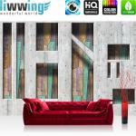 liwwing Vlies Fototapete 312x219cm PREMIUM PLUS Wand Foto Tapete Wand Bild Vliestapete - Kunst Tapete Abstrakt Betonmauer Formen Holz bunt - no. 1264