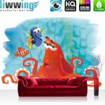 liwwing Vlies Fototapete 312x219cm PREMIUM PLUS Wand Foto Tapete Wand Bild Vliestapete - Disney Tapete Findet Dorie Kindertapete Animation Dorie Nemo Unterwasser blau - no. 1915
