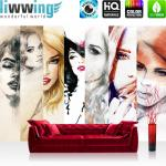 liwwing Vlies Fototapete 300x210 cm PREMIUM PLUS Wand Foto Tapete Wand Bild Vliestapete - FACES OF WOMEN - Aquarell Frauen Woman Zeichnung Gesichter Schön Beauty - no. 116