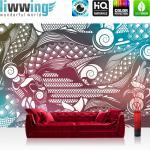 liwwing Vlies Fototapete 200x140 cm PREMIUM PLUS Wand Foto Tapete Wand Bild Vliestapete - Ornamente Tapete Muster blau gelb - no. 355