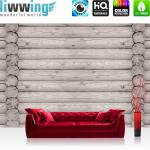 liwwing Vlies Fototapete 104x50.5cm PREMIUM PLUS Wand Foto Tapete Wand Bild Vliestapete - Holz Tapete Holzoptik Holzwand Holzstämme grau - no. 2998