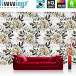 liwwing Vlies Fototapete 208x146cm PREMIUM PLUS Wand Foto Tapete Wand Bild Vliestapete - Blumen Tapete Rosen Blüten Natur weiß - no. 3550
