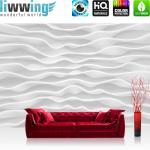 liwwing Vlies Fototapete 152.5x104cm PREMIUM PLUS Wand Foto Tapete Wand Bild Vliestapete - Kunst Tapete Design Wellen Abstrakt Muster weiß - no. 2869
