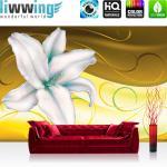 liwwing Vlies Fototapete 208x146cm PREMIUM PLUS Wand Foto Tapete Wand Bild Vliestapete - Blumen Tapete Blüten Orchidee Kunst Schnörkel gelb - no. 2583