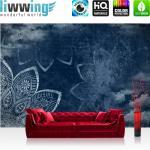 liwwing Vlies Fototapete 312x219cm PREMIUM PLUS Wand Foto Tapete Wand Bild Vliestapete - Kunst Tapete Malerei Mandala Wolken Schriftzug blau - no. 1503