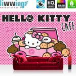 liwwing Fototapete 254x168 cm PREMIUM Wand Foto Tapete Wand Bild Papiertapete - Mädchen Tapete Hello Kitty - Kindertapete Cartoon Katze Donuts Kuchen pink - no. 506