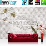liwwing Fototapete 368x254cm PREMIUM Wand Foto Tapete Wand Bild Papiertapete - Orchideen Tapete Blüten Ornamente Steppmuster französisch weiß - no. 3194