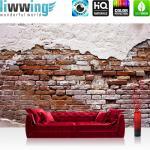 liwwing Fototapete 368x254cm PREMIUM Wand Foto Tapete Wand Bild Papiertapete - Steinwand Tapete Backsteinmauer Putz rustikal Vintage rot - no. 3258