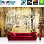 liwwing Vlies Fototapete 416x254cm PREMIUM PLUS Wand Foto Tapete Wand Bild Vliestapete - Stadt Tapete Altstadt Straßenbahn Retro Vintage gelb - no. 3515