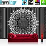 liwwing Fototapete 368x254 cm PREMIUM Wand Foto Tapete Wand Bild Papiertapete - Ornamente Tapete Kreis Streifen Abstrakt schwarz weiß - no. 1250
