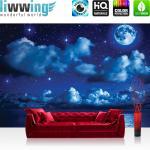 liwwing Fototapete 254x168 cm PREMIUM Wand Foto Tapete Wand Bild Papiertapete - Sternenhimmel Tapete Nacht Mond Sterne Sternenhimmel Wolken Meer blau - no. 2239