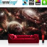 liwwing Vlies Fototapete 416x254cm PREMIUM PLUS Wand Foto Tapete Wand Bild Vliestapete - Welt Tapete Weltall Planeten schwarzes Loch Sterne schwarz - no. 1868