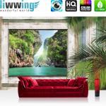 liwwing Fototapete 254x168 cm PREMIUM Wand Foto Tapete Wand Bild Papiertapete - Holz Tapete Holzoptik Rahmen Fenster Bucht Wasser Palmen Meer grau - no. 3008