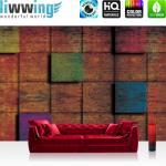liwwing Vlies Fototapete 312x219cm PREMIUM PLUS Wand Foto Tapete Wand Bild Vliestapete - Texturen Tapete Kacheln Vierecke 3D braun - no. 2669