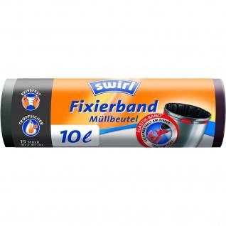 Swirl 10Liter Fixierband Müllbeutel Reißfeste 3Schichtenfolie 4er Pack