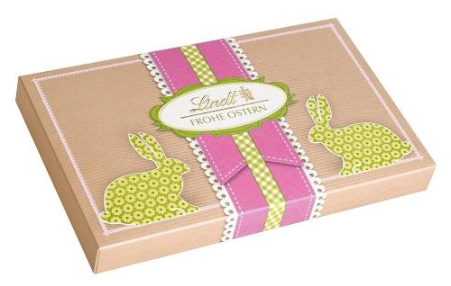 Lindt und Sprüngli Pralines Box Ostern 2 Mini Osterhasen 124g