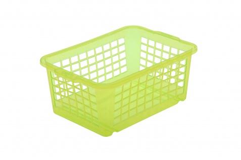 ok Aufbewahrungskörbchen, Stabiler Kunststoff (PP), 4, 5 l, 30 x 20 x 11 cm, Grün-Transparent