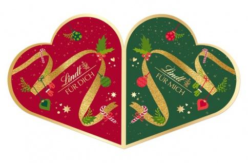 Lindt Pärchen Adventskalender mit Schokoladenpralinen gefüllt 505g