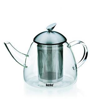 Kela 16941 Teekanne aus Glas mit Edelstahl-Siebeinsatz, 1, 8 l, Aurora