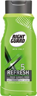 Right Guard Duschgel Körper & Haar for Men only/ 5 Refresh / 250 ml/ Hautfreundlich/ mit Frische Effekt