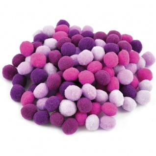 Meyco Pom Pons pink lila und flieder sortiert 120 Stück in 10mm