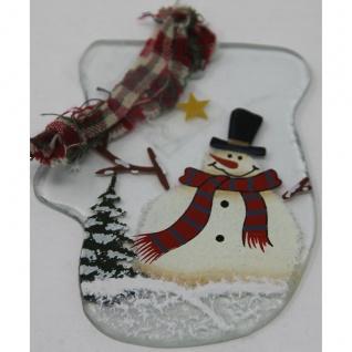 Christbaumanhänger Fensterbild aus Glas Schneemann Handschuh weiß