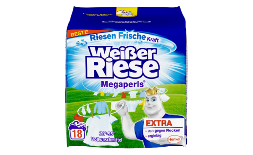 Weißer Riese Megaperls Extras Vollwaschmittel 18 Waschladungen 1215g
