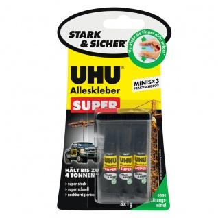 UHU Alleskleber Super Minis stark und sicher mit Box 3 x 1 g